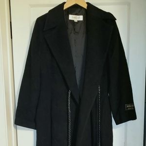 Alamode Mohair Wool ankle length black winter coat